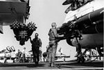 Preflight check on aircraft aboard USS Ranger (CVA-61) in January 1968.jpg