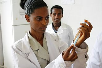 Health in Ethiopia - Image: Preparing a measles vaccine in Ethiopia