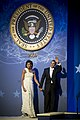 President Barack Obama and first lady Michelle Obama wave to audience after dancing at the Commander-in-Chief's Ball at the National Building Museum in Washington, D.C., Jan 090120-N-TT977-795.jpg