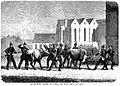Preussiske soldater inddriver kvæg ved Domkirken. Set fra Mejlgade (Kunstner Hans Frederik Meyer Visby) 1864.jpg