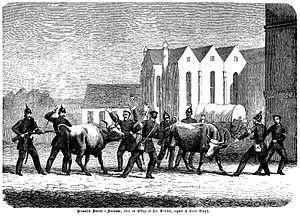 Preussiske soldater inddriver kvæg ved Domkirken. Set fra Mejlgade (Kunstner Hans Frederik Meyer Visby) 1864