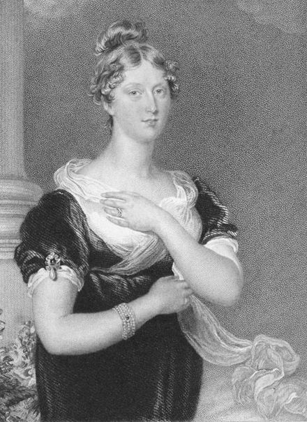 An engraving based on Sir Thomas Lawrence's painting of Charlotte, which she sat for in her final days Princess Charlotte Augusta of Wales.jpg