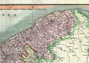 Lauenburg and Bütow Land - Lordships of Lauenburg and Bütow (identified as Buto) on a map of Farther Pomerania  in the  18th century (on the r. h. s., western border marked in red)