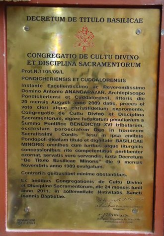 Basilica of the Sacred Heart of Jesus, Pondicherry - in Latin