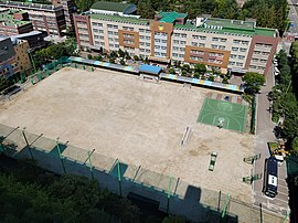 Pyeongchon Middle School, Photographed from The Hyangchon Hyundai 5-cha Apartment.jpg