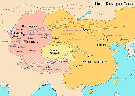 Map showing Dzungar–Qing Wars between Qing Dynasty and Dzungar Khanate