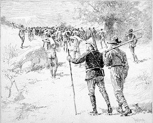 Allan Quatermain - Allan Quatermain (centre) follows his men carrying a large quantity of ivory, in Maiwa's Revenge: or, The War of the Little Hand (1888) – drawing by Thure de Thulstrup