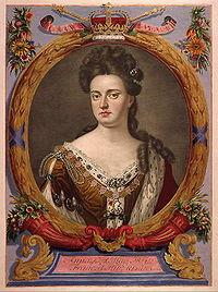 La reine Anne (1702–1714), gravure d un atlas d Auguste II de Pologne.