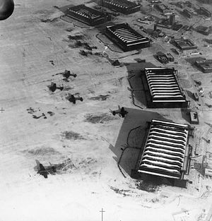 No. 77 Squadron RAF - Hangars at RAF Driffield with Whitleys of 77 Squadron in front