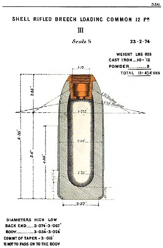 RBL 12-pounder 8 cwt Armstrong gun - Image: RBL 12 pdr Common shell diagram
