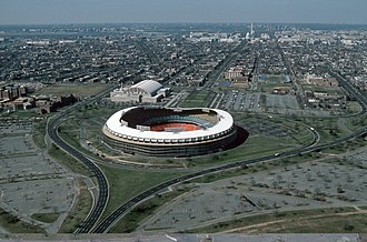 Robert F. Kennedy Memorial Stadium - RFK Stadium from the east in 1988, looking towards the U.S. Capitol