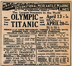 Display ad for Titanic's first but never made sailing from New York on 20 April 20, 1912