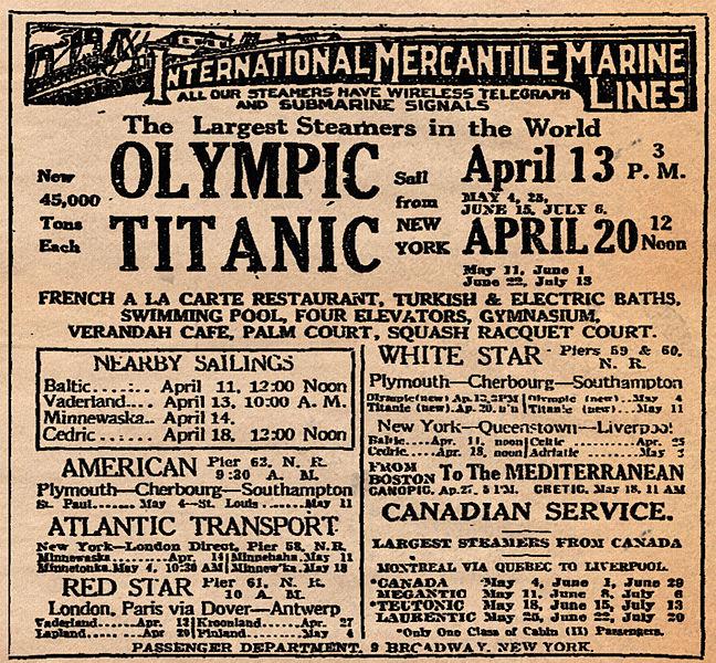 File:RMS Titanic Ad April 10, 1912.jpg - Wikipedia