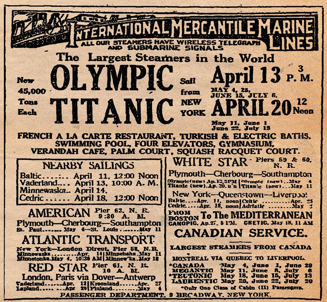 File:RMS Titanic Ad April 10, 1912.jpg - Wikipedia | 1106 x 1024 jpeg 499kB