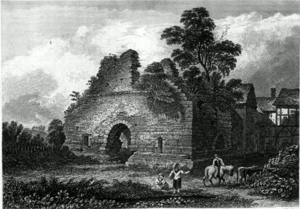 Radcliffe Tower - The tower in the early nineteenth century with the manor house on the right prior to its demolition.