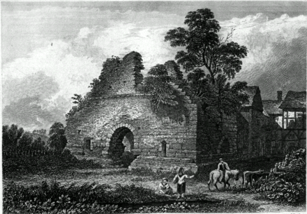 Radcliffe Tower in the early 19th century with the manor house on the right before its demolition Radcliffe tower engraving.png