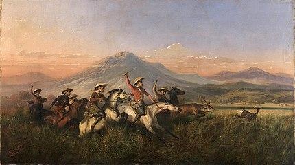 Raden Saleh - Six Horsemen Chasing Deer, 1860