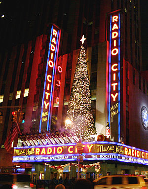 Radio City Music Hall at night, Christmas 2005