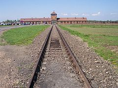 The railway line leading to the death camp at Auschwitz II (Birkenau).