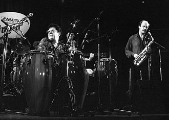 Ray Barretto - Ray Barretto (left) performing in Deauville, France, in 1991.