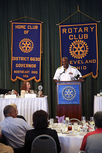 Navy Office of Community Outreach - Rear Admiral Julius Caesar speaks to business and community leaders of the Cleveland Rotary Club during Cleveland Navy Week