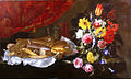 Recco, Giuseppe - A Still Life of Roses, Carnations, Tulips and other Flowers in a glass Vase, with Pastries and Sweetmeats on a pewter Platter and earthenware Pots - 17th c.jpg