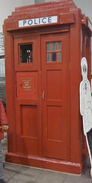 Police box - The red police box, as seen at the Glasgow Museum of Transport