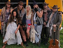 Rednex in 2020: Cash, Jiggie McClagganahan, Spades, Pickles, Moe Lester the Limp, Boneduster Crock and Pervis the Palergator, during the video recording of Nowhere in Idaho.