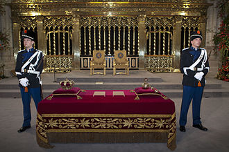 Law enforcement in the Netherlands - Two KMar guards protecting the Dutch Crown jewels placed on the Credence table at the inauguration of king Willem-Alexander