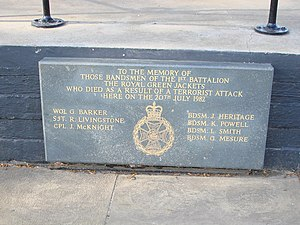 Royal Green Jackets - A memorial sign of 1982 Regent's Park bombing