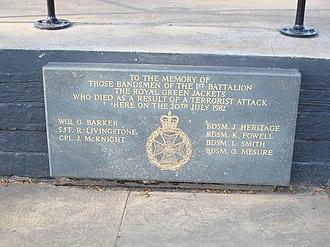 Royal Green Jackets - A memorial sign of 1982 Regent's Park bombing