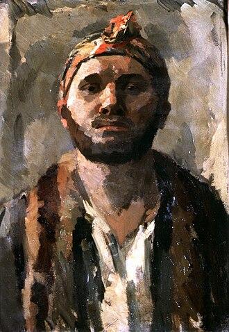 René Beeh - Self-portrait with a turban (around 1912)