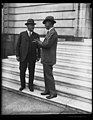 Representative Willis G. Hawley of Oregon, left, and Senator (...) Smoot, authors of the Tariff Revision Bill shown on the steps of the Senate Office building LCCN2016889264.jpg