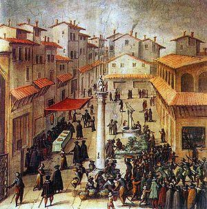 Piazza della Repubblica, Florence - Piazza del Mercato Vecchio, by Giovanni Stradano  (Palazzo Vecchio, Sala di Gualdrada)