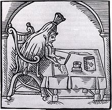 Woodcut of Greene 'suted in deaths livery', from John Dickenson's Greene in conceipt (1598)