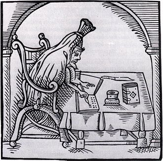 Robert Greene (dramatist) - Woodcut of Greene 'suted in deaths livery', from John Dickenson's Greene in conceipt (1598)