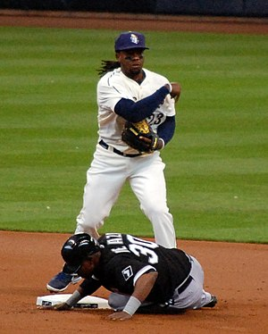 Rickie Weeks Jr. - Weeks tagging out Alejandro De Aza of the Chicago White Sox with the Milwaukee Brewers in 2013