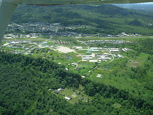 Shell Mera - Aerial view of Rio Amazonas Airport in Shell Mera.