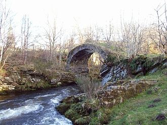 Glenlivet - Remains of a late 18th-century bridge over the River Livet