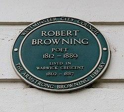 Photo of Robert Browning green plaque