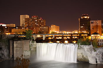 High Falls, Rochester New York, at night