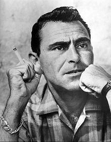 Rod Serling smoking a cigarette