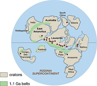 Rodinia Hypothetical neoproterozoic supercontinent from between about a billion to about three quarters of a billion years ago