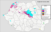 Main religions in the localities (2002) Romania harta religiilor 2002.PNG