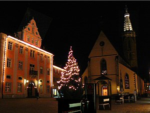 Saint Sylvester's Day - The German city of Rottenburg am Neckar decorated for Christmas and Silvester