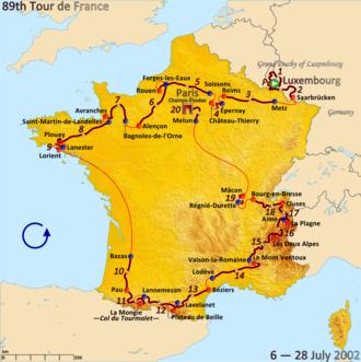 2002 Tour de France - Route of the 2002 Tour de France