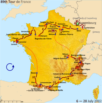 Route of the 2002 Tour de France