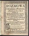Rozmowa o elekcyey, o wolnosci, o prawie, y obyczaiach polskich pod czas electiey Zygmunta III czyniona 1616 (22946704).jpg