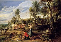 RUBENS Peter Paul Milkmaids with cattle in a landscape c.1618