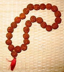 A set of meditation beads made from dried seeds and strung together as a necklace.